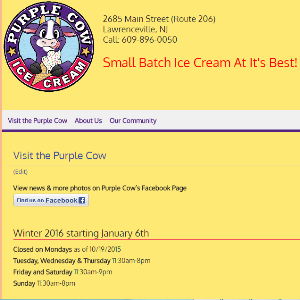 screen shot of purple cow main street