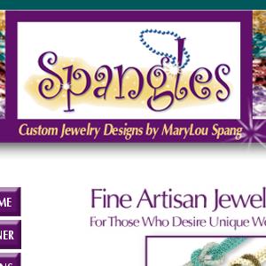 screen shot of spangles design website